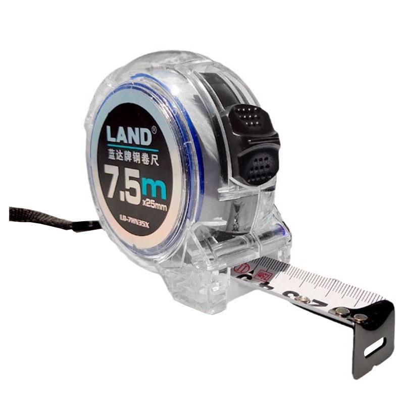 蓝达LAND N35透明防摔系列钢卷尺 ,7.5m*25mm,透明ABS尺壳,7HN35X透明