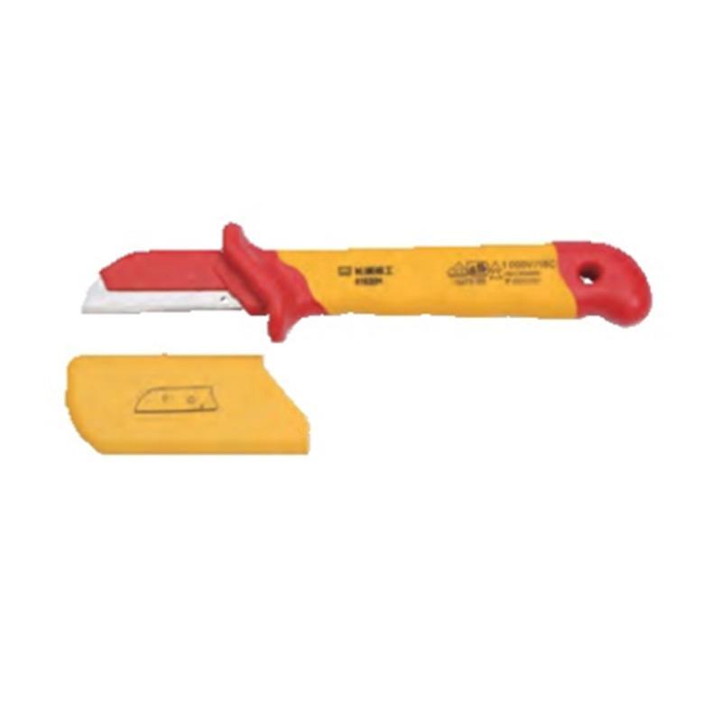 长城精工Greatwall 双色VDE绝缘护套直平型电缆刀,50*180mm,416204