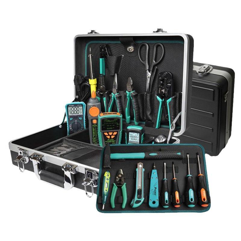 宝工Pro sKit 光纤安装工具套装 含光纤熔接机TE-8201G-W光纤切割刀FB-1688C和工具套装PK-9472G