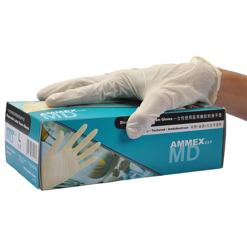AMMEX爱马斯TLCMD44100(退市 用无粉的代替)一次性白色医用橡胶检查手套中号(经济型 有粉 麻面)