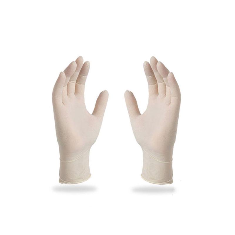 AMMEX爱马斯TLFC44100一次性淡黄色乳胶手套中号(标准型、无粉、麻面)