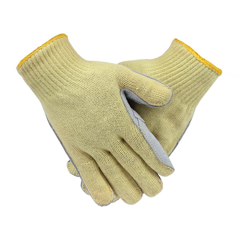 SAFEMAN君御 SF159DT涤纶包钢丝牛皮掌面5级防割手套