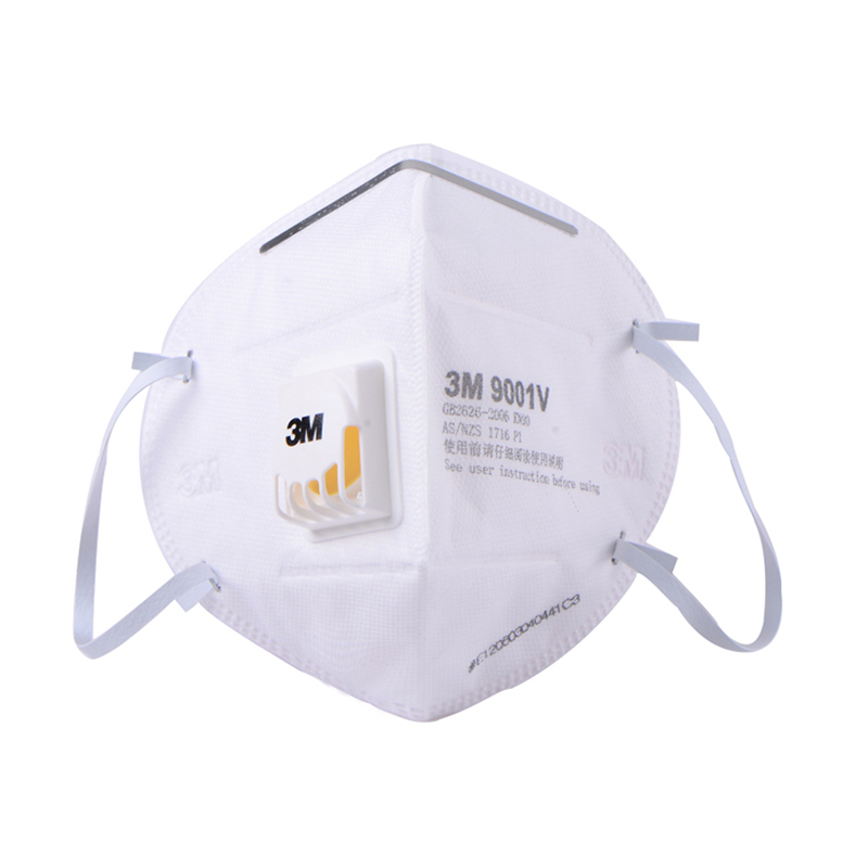3M 9001V 环保包装折叠式耳戴式带呼吸阀防护口罩(退市 可选9501V+替代)