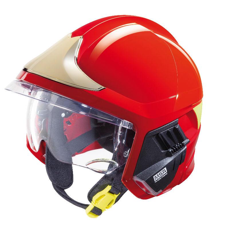 梅思安10158865消防头盔 F1XF 中号 红色 带电筒支架