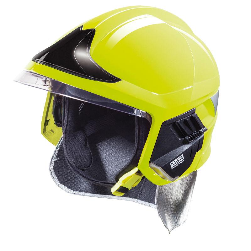梅思安10158862 消防头盔 F1XF 中号 黄色 带电筒支架