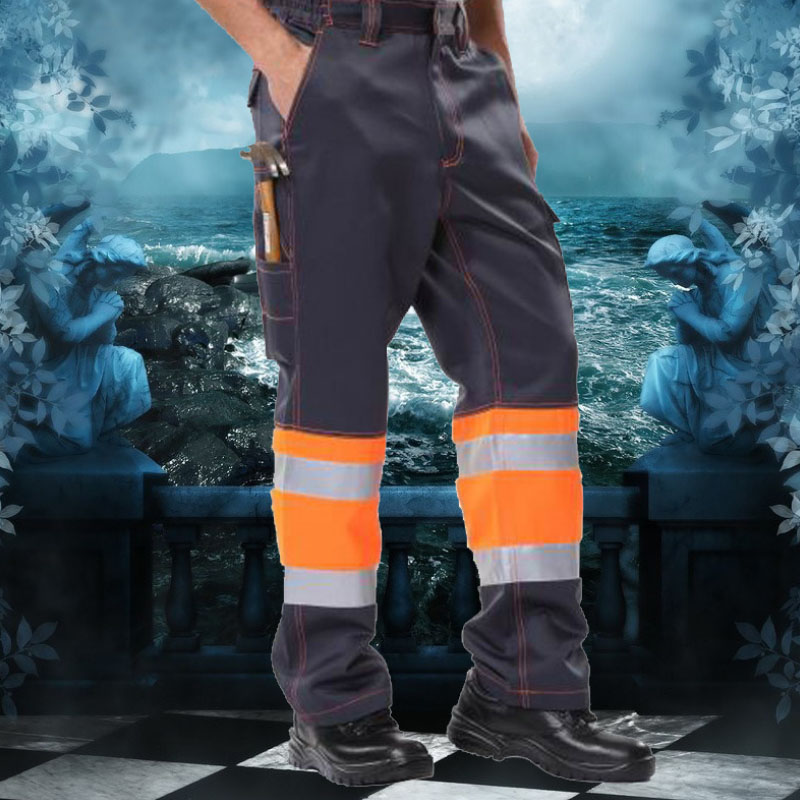 安大叔C326荧光黄拼灰色高警示工作裤-XL