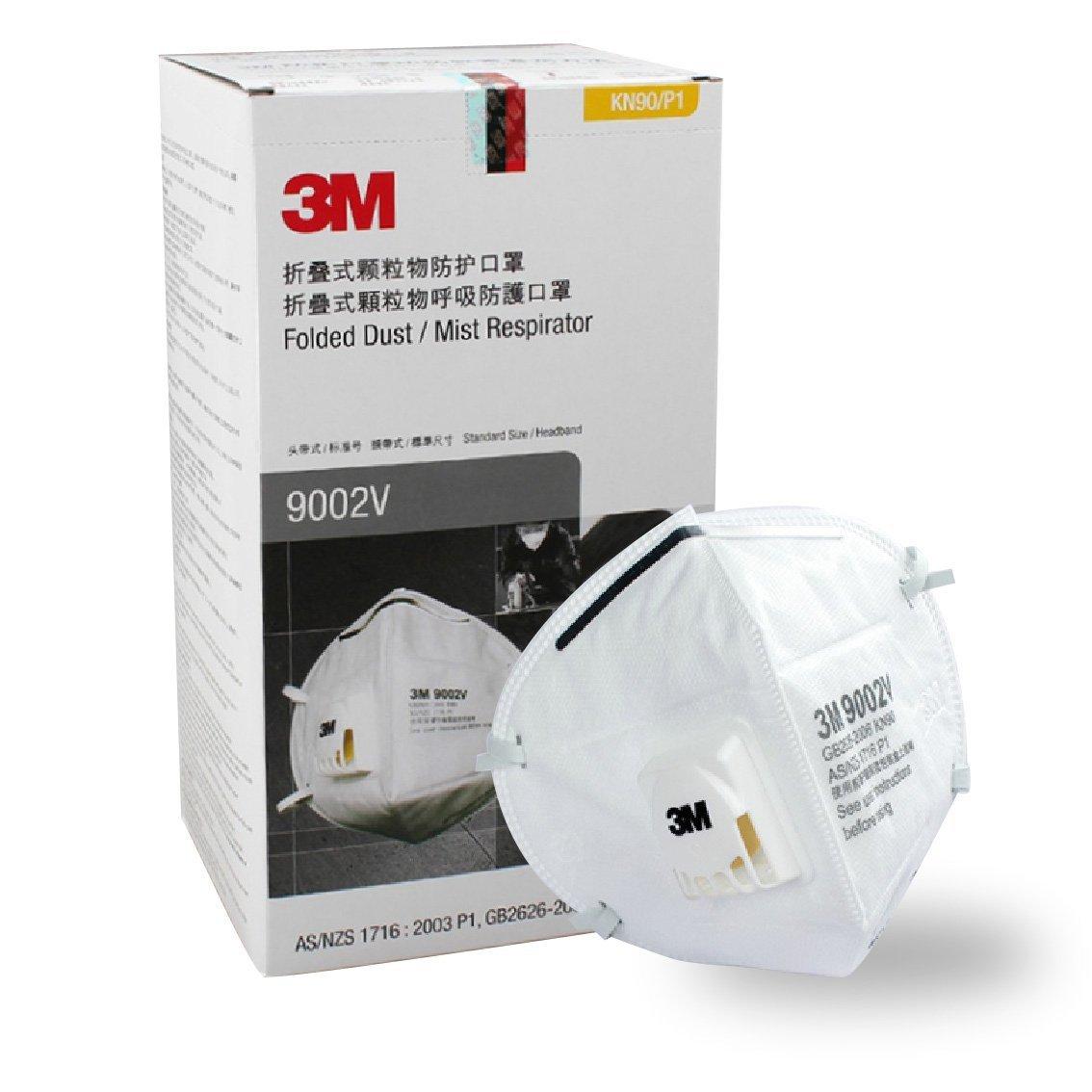 3M 9002V 折叠头戴式带呼吸阀防尘口罩(环保包装)