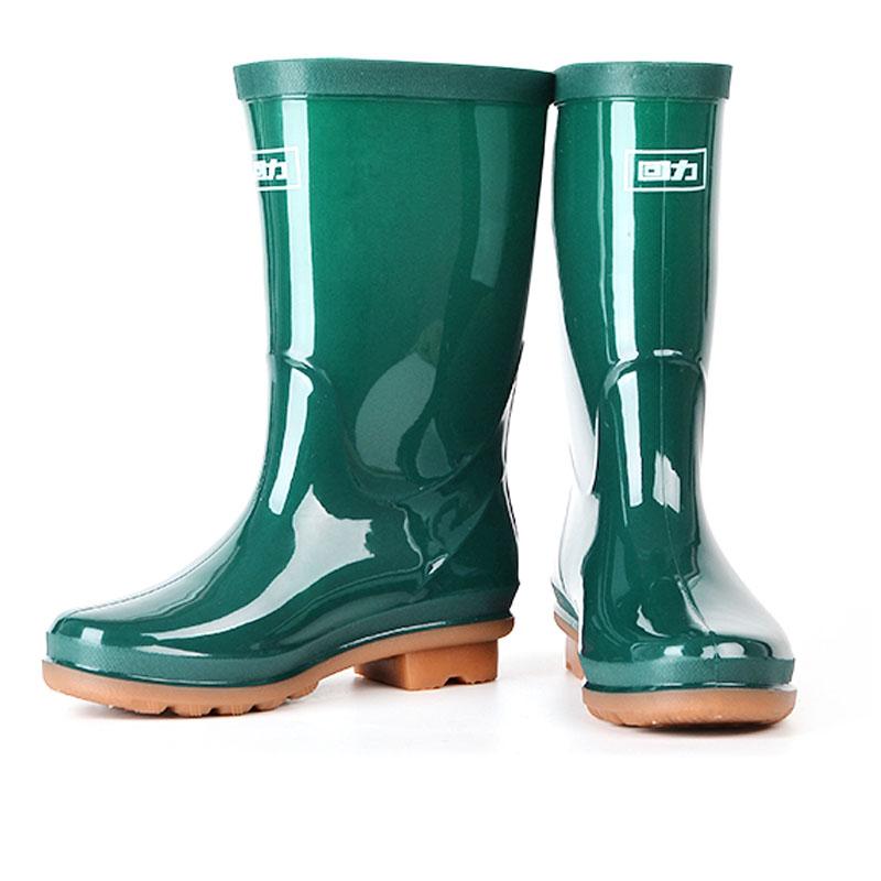 WARRIOR/回力 853中筒墨绿色雨靴