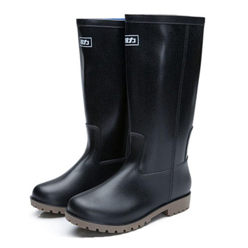 WARRIOR/回力 8128男高筒黑色雨靴