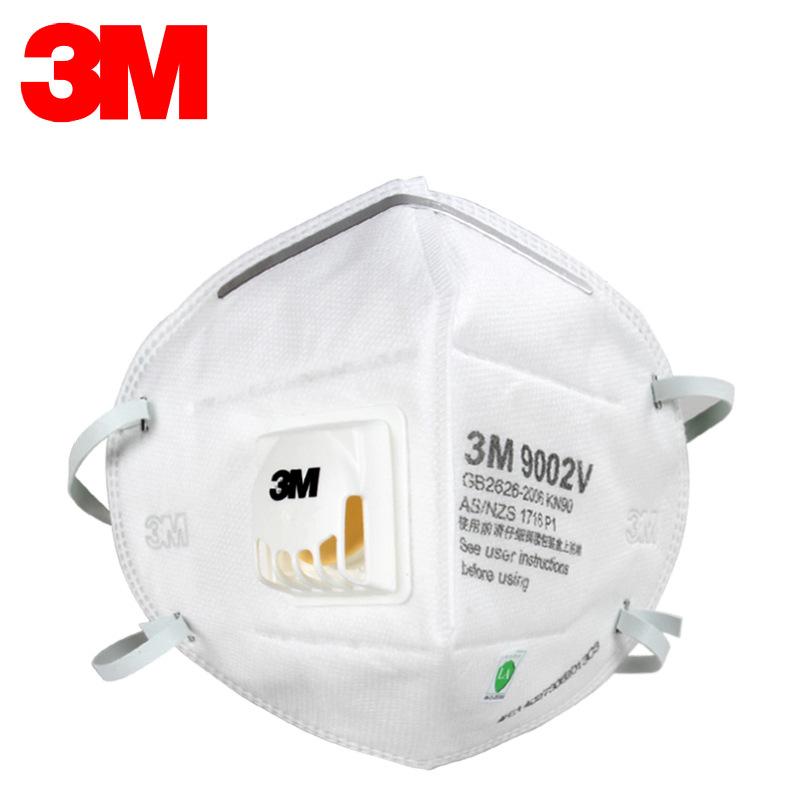 3M 9002V折叠头戴式白色带阀防尘口罩(精装)