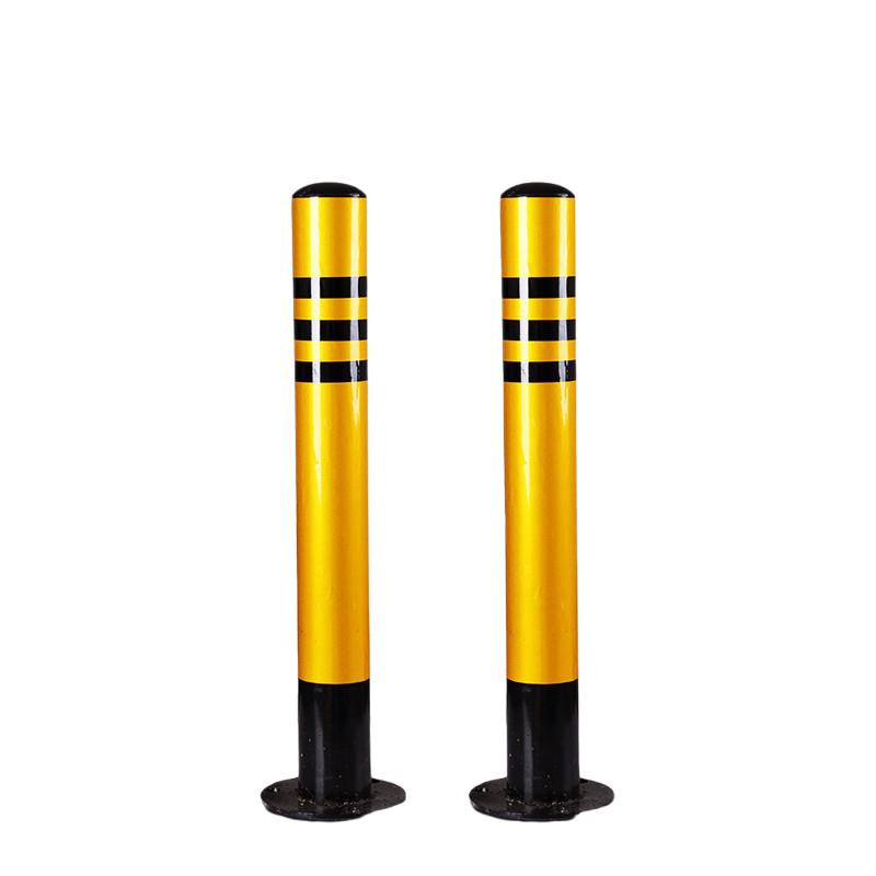 力畅 60cm黑黄反光铁立柱(加厚)