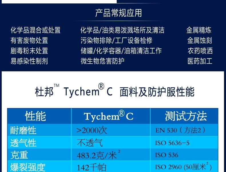 杜邦Tychem C防护服S(型号升级为Tychem2000型)
