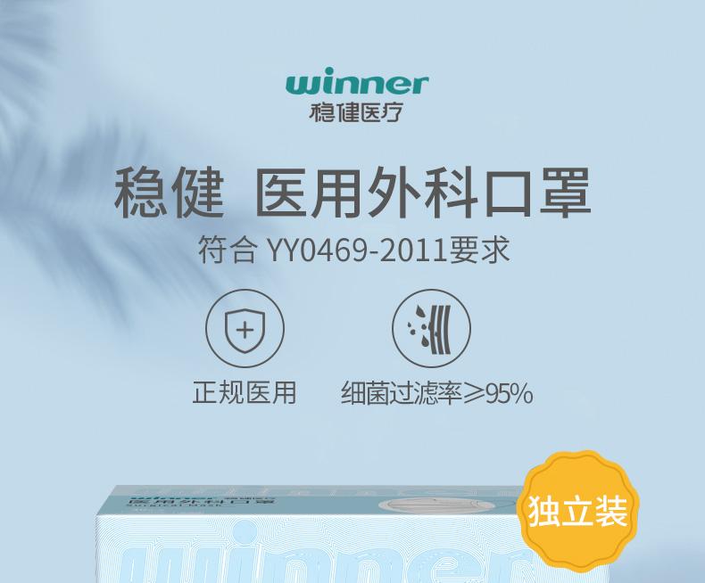 Winner稳健 07683一次性医用外科口罩耳戴式(非灭菌独立装)