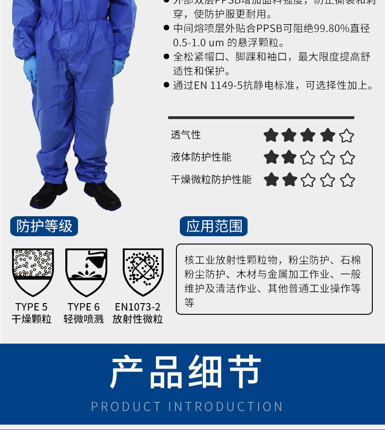 GUANJIE固安捷GAJ1000防护服(蓝色)-S