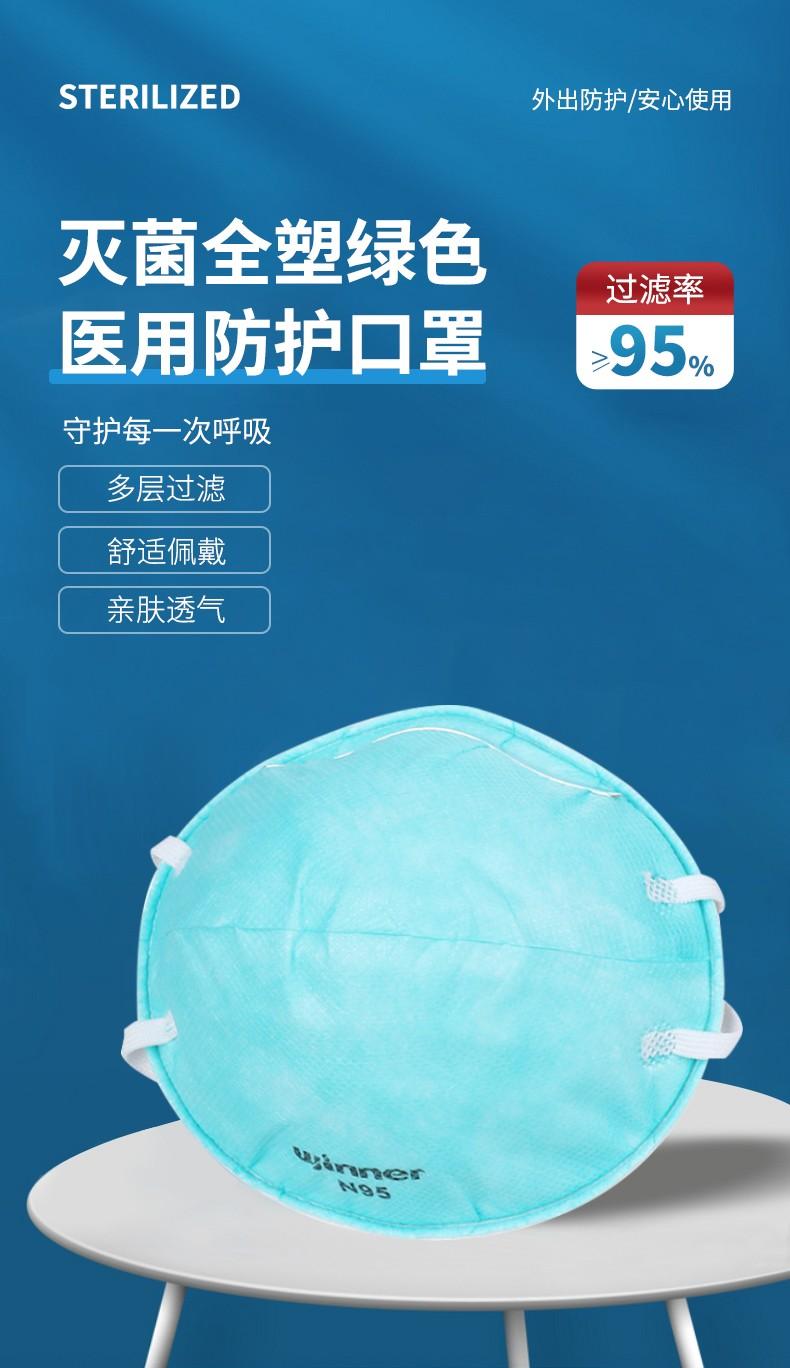 Winner稳健 灭菌全塑绿色医用防护口罩N95(拱形)