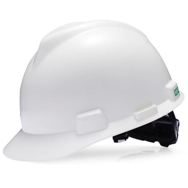 梅思安 10224004 V-Gard标准型抗静电安全帽 ABS帽壳一指键帽衬PVC吸汗带尼龙顶带国标D型下颚带-白色